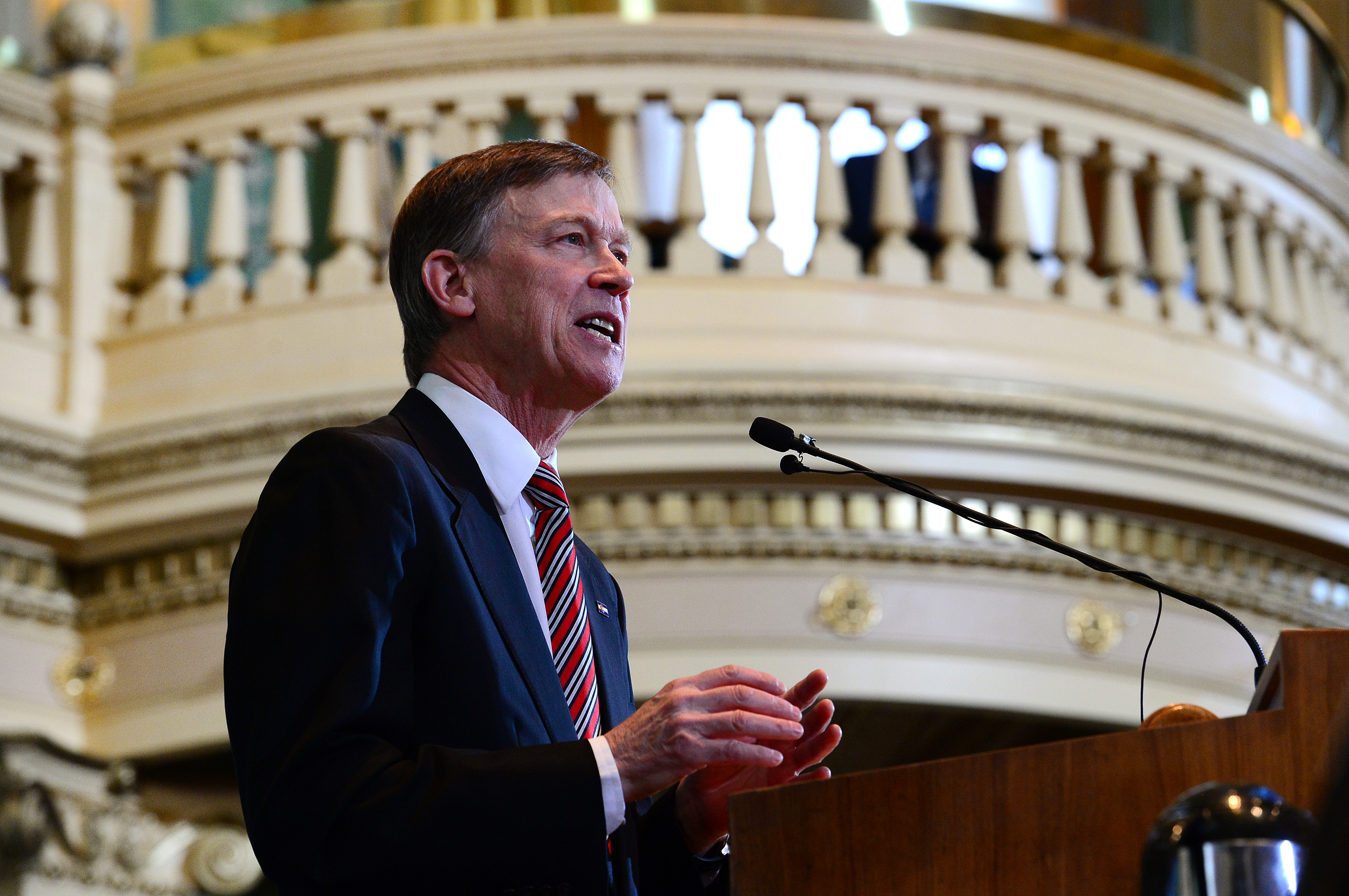 Colorado Governor John Hickenlooper gives his State of the State speech inside the House chambers of the State Capitol in Denver, CO on January 15, 2015.